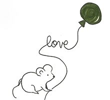 love mouse with green balloon by tinysugarspree