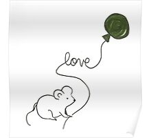 love mouse with green balloon Poster
