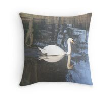 A Reflection Of A Mute Swan Throw Pillow