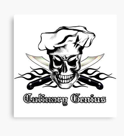 Chef Skull 3: Culinary Genius 3 black flames Canvas Print
