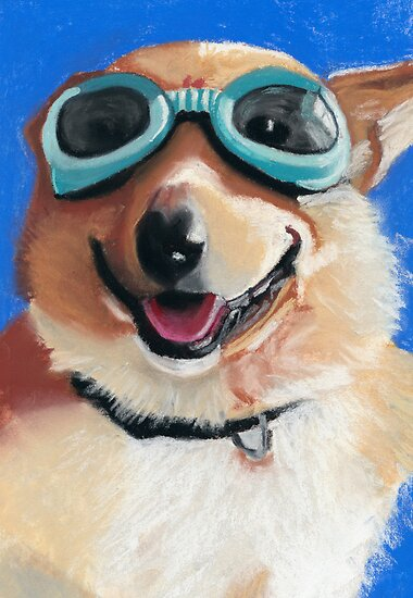 Corgi in Goggles by ria hills