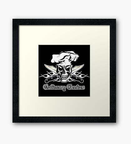 Chef Skull 3: Culinary Genius 3 white flames Framed Print