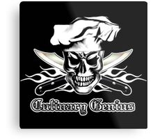 Chef Skull 3: Culinary Genius 3 white flames Metal Print
