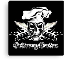 Chef Skull 3: Culinary Genius 3 white flames Canvas Print
