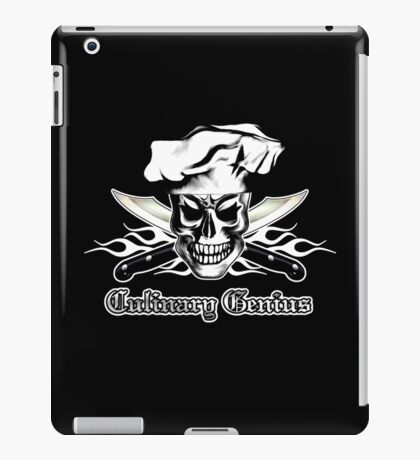 Chef Skull 3: Culinary Genius 3 white flames iPad Case/Skin