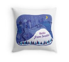 Hello from Seattle! by Wendy Wahman Throw Pillow