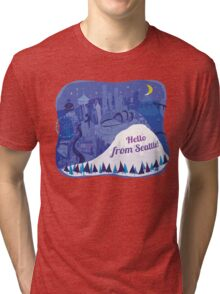 Hello from Seattle! by Wendy Wahman Tri-blend T-Shirt