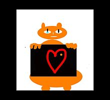 MY PET, Orange cat, RED HEART by ackelly4