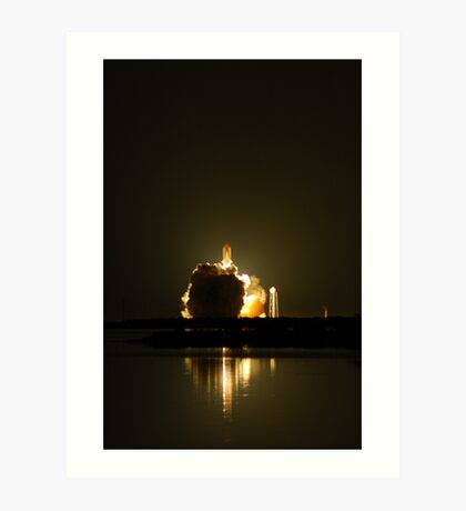 STS123 Night Launch, clearing the tower. Art Print