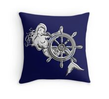 Chrome Style Nautical Mermaid Applique Throw Pillow