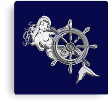 Chrome Style Nautical Mermaid Applique Canvas Print
