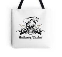 Chef Skull 4: Culinary Genius 3 black flames Tote Bag