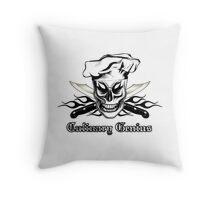 Chef Skull 4: Culinary Genius 3 black flames Throw Pillow