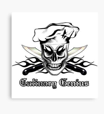 Chef Skull 4: Culinary Genius 3 black flames Canvas Print