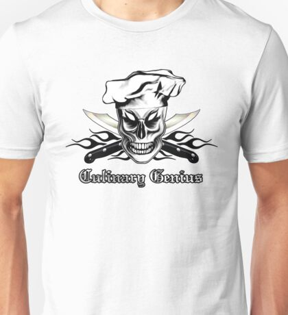 Chef Skull 4: Culinary Genius 3 black flames Unisex T-Shirt