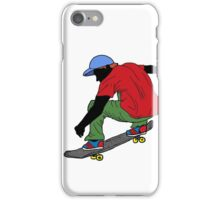 Red shirt skateboarder drawing iPhone Case/Skin