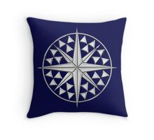 Chrome Style Nautical Compass Star Throw Pillow