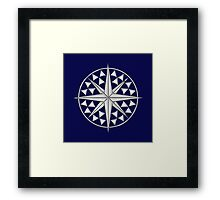 Chrome Style Nautical Compass Star Framed Print
