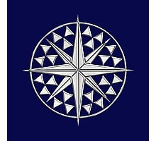 Chrome Style Nautical Compass Star Photographic Print