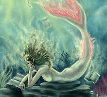 Mermaid Reading Underwater by tiffanysrealm