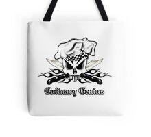 Chef Skull 2.3: Culinary Genius 3 black flames Tote Bag