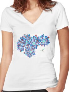 Hover Fly Chrysanths Women's Fitted V-Neck T-Shirt