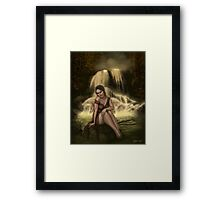 Lady of the Falls - Fairy Sitting by Waterfall Framed Print