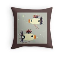 MY PET, twin FISH, whimsical art.  Throw Pillow