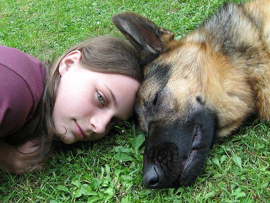 DOG AND GIRL PORTRAIT by SofiaYoushi