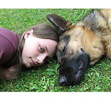 DOG AND GIRL PORTRAIT Photographic Print