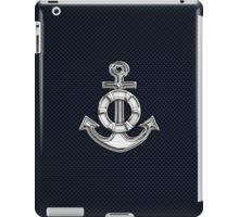 Chrome Style Nautical Life Anchor Applique iPad Case/Skin