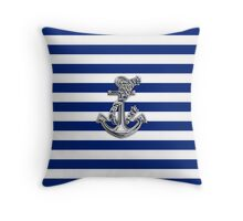 Chrome Style Nautical Rope Anchor Applique Throw Pillow