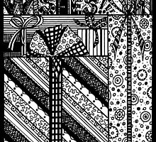 Zentangles Birthday Wishes Black & White by Heather Holland by Heatherian