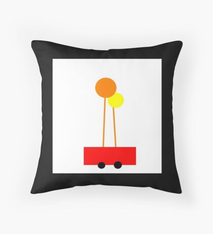 POPPY LOPS, little red wagon art.  Throw Pillow