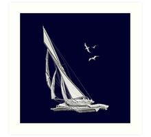 Chrome Style Nautical Sail Boat Applique Art Print