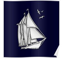 Chrome Style Nautical Sail Boat Applique Poster