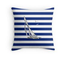Chrome Style Nautical Sail Boat Applique Throw Pillow