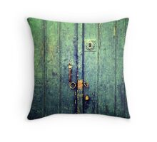 Blue Door In Avanos Throw Pillow