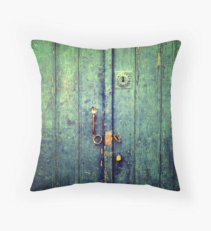 Blue Door In Avanos Throw Pillow