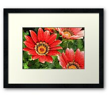 Vivid Orange African Daisy Digital Oil Painting Framed Print