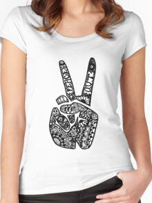 Hand Drawn Peace Out Sign Women's Fitted Scoop T-Shirt