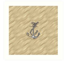 Chrome Anchor in Sand Art Print