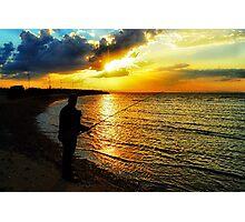 Fishing at sunset... Photographic Print