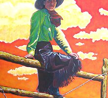 Eastern Girl on a Western Fence by Keith Smith