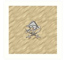 Chrome Pirate Crossbones in Sand Art Print