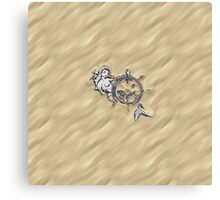 Chrome Mermaid in Sand Canvas Print
