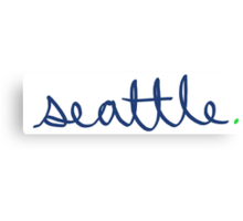 Seattle Cursive - City Scroll Canvas Print