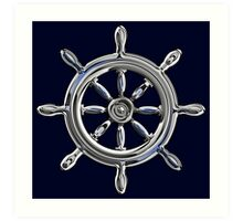 Chrome Style Nautical Wheel Applique Art Print
