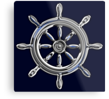 Chrome Style Nautical Wheel Applique Metal Print