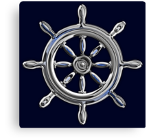Chrome Style Nautical Wheel Applique Canvas Print